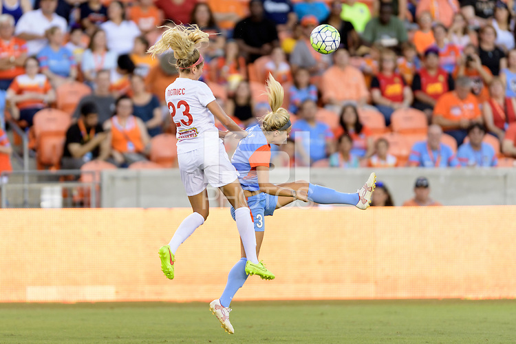Houston, TX - Saturday July 30, 2016: Courtney Niemiec, Rachel Daly during a regular season National Women's Soccer League (NWSL) match between the Houston Dash and the Western New York Flash at BBVA Compass Stadium.