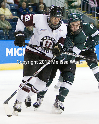 Shawn Stuart (Union - 28), Tanner Sorenson (MSU - 10) - The Union College Dutchmen defeated the Michigan State University Spartans 3-1 in their NCAA East Regional semifinal on Friday, March 23, 2012, at the Webster Bank Arena in Bridgeport, Connecticut.