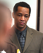 Sniper suspect John Allen Muhammad is escorted into court at the Virginia Beach Circuit Court in Virginia Beach, Virginia on November 13, 2003.  Closing arguments are scheduled for today. <br /> Credit: Steve Earley - Pool via CNP