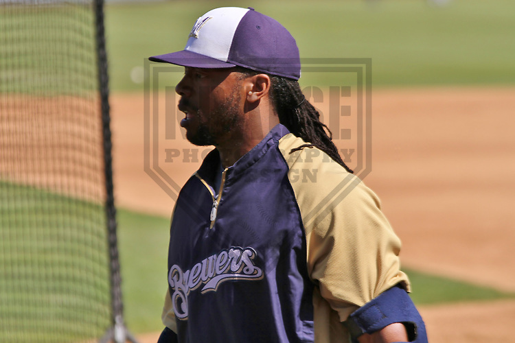 MARYVALE - March 2014: Rickie Weeks of the Milwaukee Brewers during a spring training workout on March 19th, 2014 at Maryvale Baseball Park in Maryvale, Arizona.  (Photo Credit: Brad Krause)