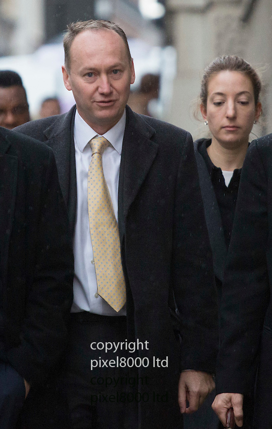 Pic shows: Gary Clarence arrives at the Old Bailey today surrounded by legal advisers as his wife was sentenced for killing their three children.<br /> <br /> Tania Clarence, 42, the wife of an investment banker living in south-west London, will not now face trial and is due to be sentenced next month when she is likely to face a hospital order.<br /> <br /> Clarence, a mother-of-four, left three notes before allegedly smothering her four-year-old daughter, Olivia, and twin sons Ben and Max, aged three, while her husband, Gary, 43, was overseas. All three children had spinal muscular atrophy (SMA) type 2, a life-limiting progressive disease which can cause fatal respiratory problems.<br /> <br /> Clarence then tried to kill herself but was found by the family&rsquo;s nanny and a neighbour.<br /> <br /> <br /> <br /> Pic by Gavin Rodgers/Pixel 8000 Ltd