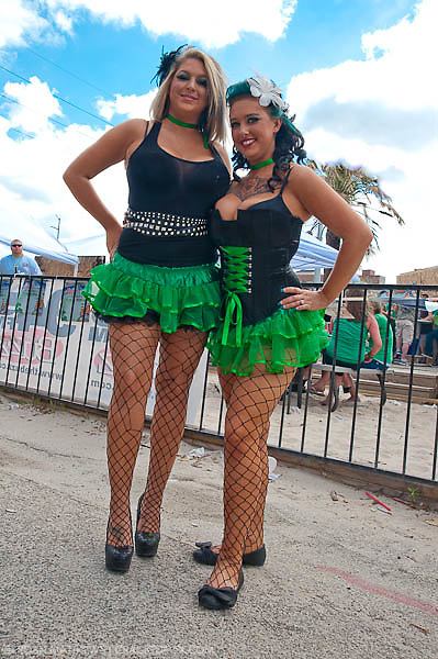 Girls in fishnet and short skirts on St. Patrick's Day at Lucky's in downtown Houston. March 17, 2011.