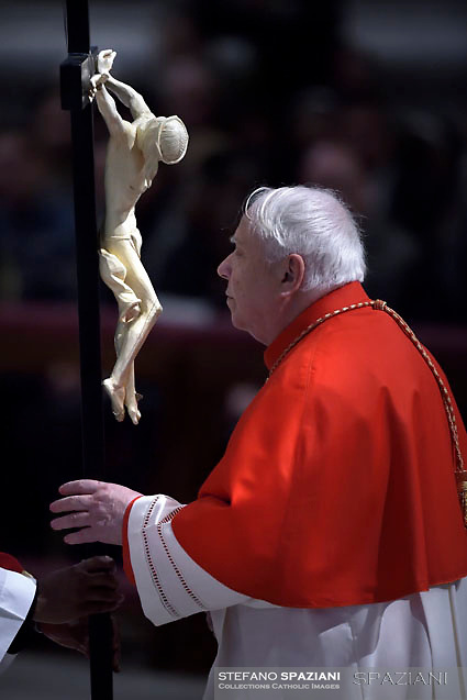 Cardinal Domenico Calcagno,Pope Francis the ceremony of the Good Friday Passion of the Lord Mass in Saint Peter's Basilica at the Vatican.March 30, 2018