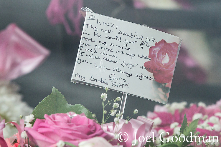 © Joel Goodman - 07973 332324 . 09/08/2013 . Salford , UK . Cards , flowers and tributes . The funeral of Linzi Ashton at St Paul's C of E Church in Salford , today (9th August 2013) . Linzi Ashton (25) was found murdered in her home on Westbourne Road in Salford on 29th June . Michael Cope is standing trial, accused of murdering, raping and assaulting her . Photo credit : Joel Goodman