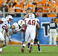 STANFORD, CA - January 2, 2012: Stanford linebacker Ben Gardner (49) against Oklahoma State at the Fiesta Bowl at University of Phoenix Stadium in Phoenix, AZ. Final score Oklahoma State wins 41-38.