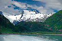 July 17 thru 23 / Alaska / Vacation and stock photography / Whittier Glacier as scene across Portage Lake / Photo by Bob Laramie