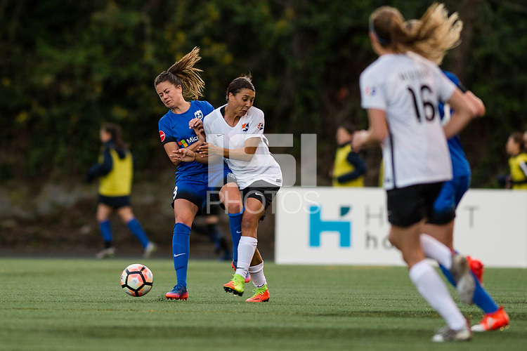 Seattle, WA - April 15th, 2017 Lauren Barnes and Samantha Kerr during a regular season National Women's Soccer League (NWSL) match between the Seattle Reign FC and Sky Blue FC at Memorial Stadium.