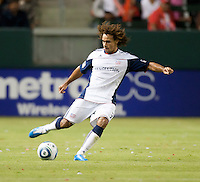 Revolution defender Kevin Alston (30) makes a pass during the first half of the game between Chivas USA and the New England Revolution at the Home Depot Center in Carson, CA, on September 10, 2010. Chivas USA 2, New England Revolution 0.