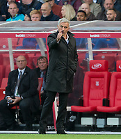 Man Utd Manager Jose Mourinho celebrates his sides second goal during the Premier League match between Stoke City and Manchester United at the Britannia Stadium, Stoke-on-Trent, England on 9 September 2017. Photo by Andy Rowland.