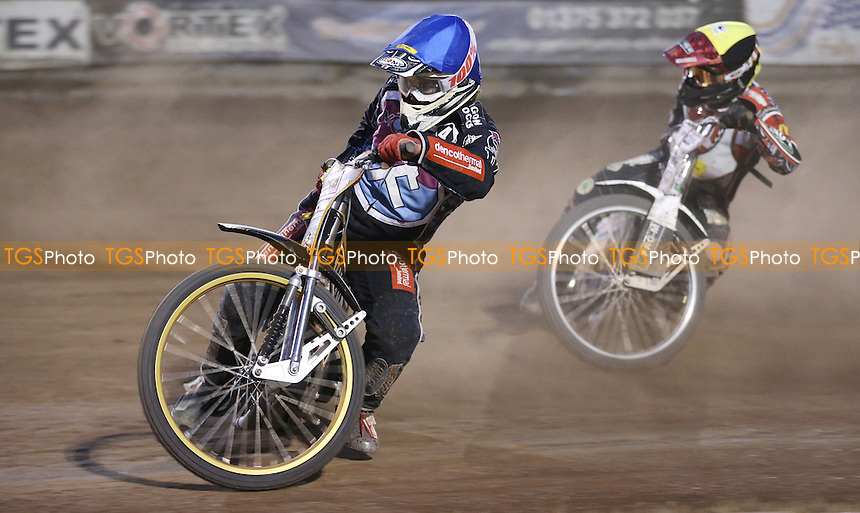 Heat 14: Richard Lawson (blue) and Kevin Doolan (yellow) - Lakeside Hammers vs Belle Vue Aces, Elite League Speedway at the Arena Essex Raceway, Pufleet - 10/07/15 - MANDATORY CREDIT: Rob Newell/TGSPHOTO - Self billing applies where appropriate - 0845 094 6026 - contact@tgsphoto.co.uk - NO UNPAID USE
