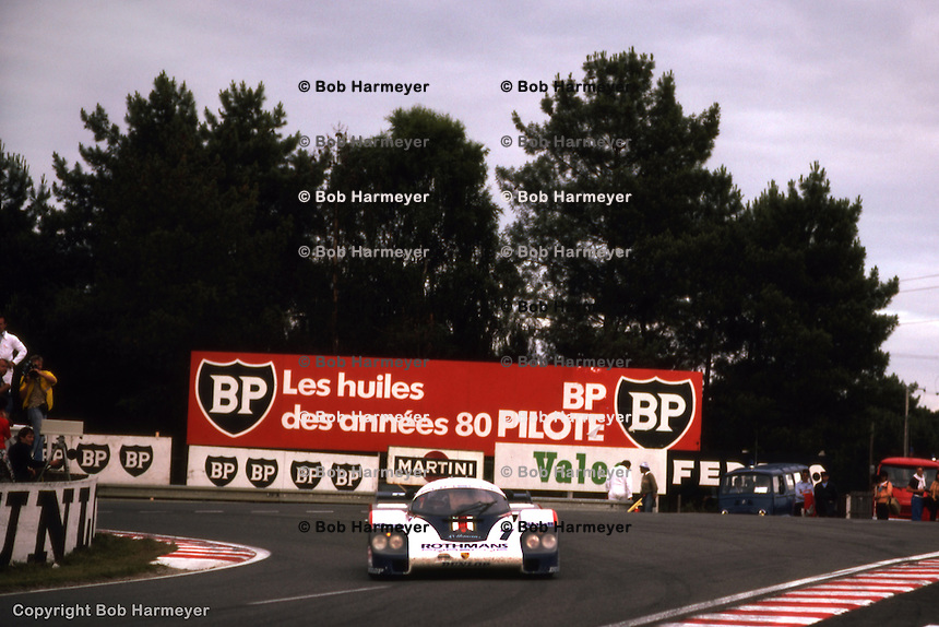 LE MANS, FRANCE: The race-winning Porsche 956 002 of Jacky Ickx and Derek Bell is driven through the Mulsanne Corner during the 24 Hours of Le Mans on June 20, 1982, at Circuit de la Sarthe in Le Mans, France.