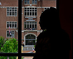 Britney Christian waits for an elevator inside Bosley Hall at Harris-Stowe State University in St. Louis on Wednesday August 15, 2018.    Photo by Tim Vizer