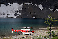 Kootenay National Park, British Columbia, Canada, July 2008. A Helicopter of BC parks service lands at Floe Lake campsite. The Rockwall trail offers an exhilarating multiple day hike in the Rocky Mountains. Photo by Frits Meyst/Adventure4ever.com