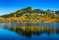 Autumn landscape at Echo Lake, Franconia Notch State Park, New Hampshire, USA.