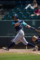 Tyler Freeman (2) of the Lynchburg Hillcats follows through on his swing against the Winston-Salem Rayados at BB&T Ballpark on June 23, 2019 in Winston-Salem, North Carolina. The Hillcats defeated the Rayados 12-9 in 11 innings. (Brian Westerholt/Four Seam Images)