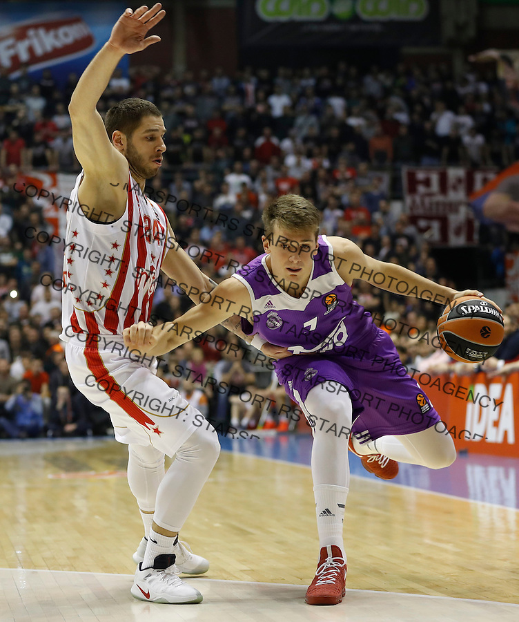 Kosarka Euroleague season 2016-2017<br /> Euroleague <br /> Crvena Zvezda v Real Madrid<br /> Luka Doncic (R) and Stefan Jovic<br /> Beograd, 22.12.2016.<br /> foto: Srdjan Stevanovic/Starsportphoto &copy;