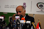 Palestinian Football Association chairman Jibril Rajoub and President of the Asian Football Confederation (AFC) Mohamed Bin Hammam give a news conference in the West Bank city of Ramallah on March 9, 2011 on the upcoming football match qualifier for the Asian group of the 2012 London Olympics between the Palestinian and Thai national soccer teams, the first-ever international qualifier on Palestinian land. Photo by Issam Rimawi