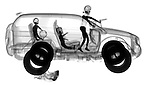 X-ray image of a road rage soccer mom (black on white) by Jim Wehtje, specialist in x-ray art and design images.