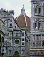 Florence, Tuscany, Italy<br /> Cupola and dome of the Duomo of Santa Maria del Fiore.<br /> with the cathedral's ornate facade and campanile