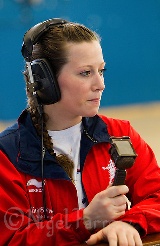 06 APR 2012 - LONDON, GBR - Heidi Møller Jensen commentates on the Argentina v South Korea match during the men's 2012 London Cup tournament at the National Sports Centre in Crystal Palace, Great Britain (PHOTO (C) 2012 NIGEL FARROW)