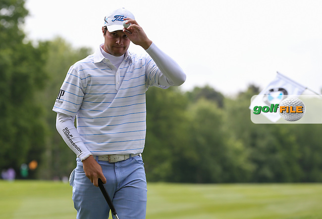 Peter Uihlein (USA) cards a 66 during Round Three of the 2015 BMW PGA Championship over the West Course at Wentworth, Virginia Water, London. 23/05/2015. Picture David Lloyd   www.golffile.ie.
