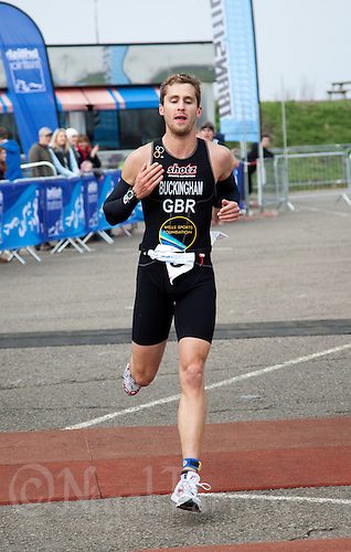 27 MAR 2011 - LOUGHBOROUGH, GBR - Mark Buckingham wins the British Elite Mens Duathlon Championships .(PHOTO (C) NIGEL FARROW)