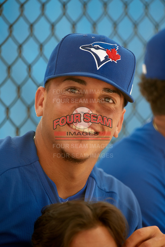 GCL Blue Jays Jonelvy Molina (29) during a game against the GCL Pirates on July 20, 2017 at Bobby Mattick Training Center at Englebert Complex in Dunedin, Florida.  GCL Pirates defeated the GCL Blue Jays 11-6 in eleven innings.  (Mike Janes/Four Seam Images)