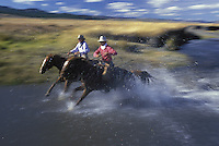 Cowboys on horses through stream. Ponderosa Ranch. Senaca OR. MR