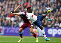 23rd November 2019; London Stadium, London, England; English Premier League Football, West Ham United versus Tottenham Hotspur; Robert Snodgrass of West Ham United being challenged by Serge Aurier of Tottenham Hotspur - Strictly Editorial Use Only. No use with unauthorized audio, video, data, fixture lists, club/league logos or 'live' services. Online in-match use limited to 120 images, no video emulation. No use in betting, games or single club/league/player publications