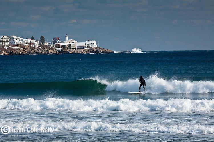 Winter surfing in York, ME
