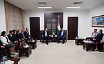 Palestinian President Mahmoud Abbas meets with Palestinian delegation that went to Puerto Rico at his headquarter in the West Bank city of Ramallah on October 8, 2017. Photo by Thaer Ganaim