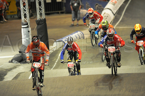 05.27.2012. England, Birmingham, National Indoor Arena. UCI BMX World Championships. Richard GREEN and Ian SHARP in action for Great Britain during the Men 40-44 Cruisers at the NIA ....