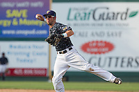 Jordan Cowan (3) of the Everett Aquasox throws to first base during a game against the Hillsboro Hops at Everett Memorial Stadium in Everett, Washington on July 5, 2015.  Hillsboro defeated Everett 11-4. (Ronnie Allen/Four Seam Images)