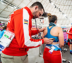 Lima, Peru -  26/August/2019 - Richard Trenholm checks up on Carla Shibley ahead of her race at the Parapan Am Games in Lima, Peru. Photo: Dave Holland/Canadian Paralympic Committee.
