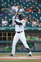 Luis Robert (9) of the Charlotte Knights at bat against the Gwinnett Braves at BB&T BallPark on July 12, 2019 in Charlotte, North Carolina. The Stripers defeated the Knights 9-3. (Brian Westerholt/Four Seam Images)