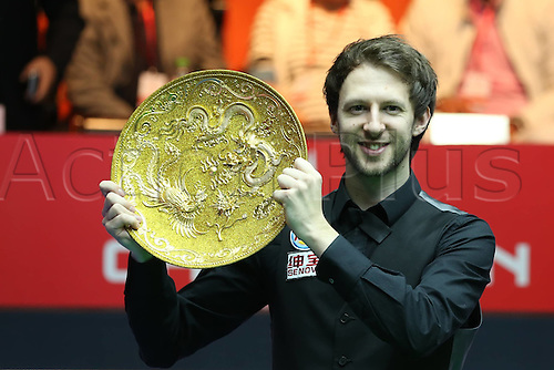 03.04.2016. Beijing, China.  Judd Trump of England poses with his trophy after the final of the 2016 World Snooker China Open Tournament against his compatriot Ricky Walden in Beijing,  China, April 3, 2016. Judd Trump won 10-4.
