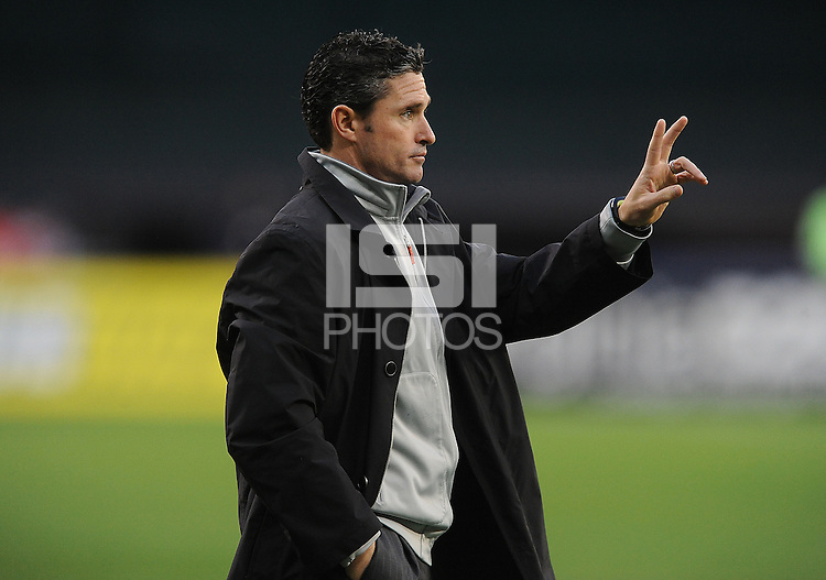 Washington D.C. - April 5, 2014: New England Revolution Head Coach Jay Heaps.  D.C. United defeated 2-0 the New England Revolution during a Major League Soccer match for the 2014 season at RFK Stadium.