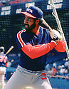 CIRCA 1986: Harold Baines #3 of the Chicago White Sox in the batting cage before a game from his 1986 season with the Chicago White Sox.  Harold Baines played for 22 years with 5 different teams , was a 6-time All-Star. (Photo by: 1986 : SportPics : Harold Baines