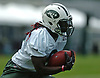 Lucky Whitehead #8, New York Jets wide receiver, returns a punt during the first team practice of training camp at the Atlantic Health Jets Training Center in Florham Park, NJ on Saturday, July 29, 2017.
