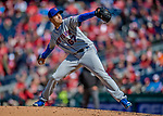 5 April 2018: New York Mets pitcher Seth Lugo on the mound in the 9th inning against the Washington Nationals during the Nationals' Home Opener at Nationals Park in Washington, DC. The Mets defeated the Nationals 8-2 in the first game of their 3-game series. Mandatory Credit: Ed Wolfstein Photo *** RAW (NEF) Image File Available ***