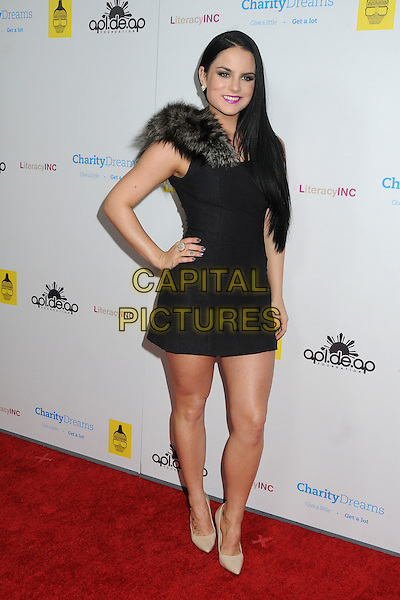 JoJo, Joanna Levesque.Apl.ed.ap of The Black Eyed Peas Birthday Celebration of the Season held at The Conga Room at LA Live, Los Angeles, California, USA..December 13th, 2011.full length black dress grey gray fur hand on hip beige shoes .CAP/ADM/BP.©Byron Purvis/AdMedia/Capital Pictures.