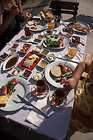 Turkish breakfast in Alacati, Turkey