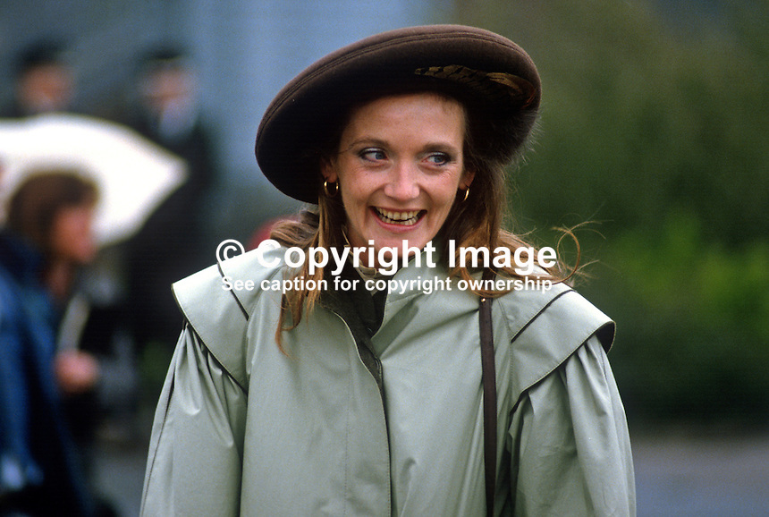 Leonora Anson, Countess of Lichfield,  neé Grosvenor, wife of society photographer, Lord Lichfield, at a Riding for the Disabled event in Co Fermanagh attended by the Princess Royal, Princess Anne, during a royal visit to N Ireland, May 1985. 19850503LL2..Copyright Image from Victor Patterson, 54 Dorchester Park, Belfast, UK, BT9 6RJ..Tel: +44 28 9066 1296.Mob: +44 7802 353836.Voicemail +44 20 8816 7153.Skype: victorpattersonbelfast.Email: victorpatterson@me.com.Email: victorpatterson@ireland.com (back-up)..IMPORTANT: If you wish to use this image or any other of my images please go to www.victorpatterson.com and click on the Terms & Conditions. Then contact me by email or phone with the reference number(s) of the image(s) concerned.