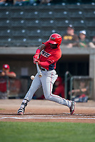 Orem Owlz center fielder D'Shawn Knowles (4) swings at a pitch during a Pioneer League game against the Missoula Osprey at Ogren Park Allegiance Field on August 19, 2018 in Missoula, Montana. The Missoula Osprey defeated the Orem Owlz by a score of 8-0. (Zachary Lucy/Four Seam Images)