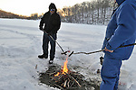 Snow, cross country skiing, and ice fishing on Pocantico Lake, Sleepy Hollow.