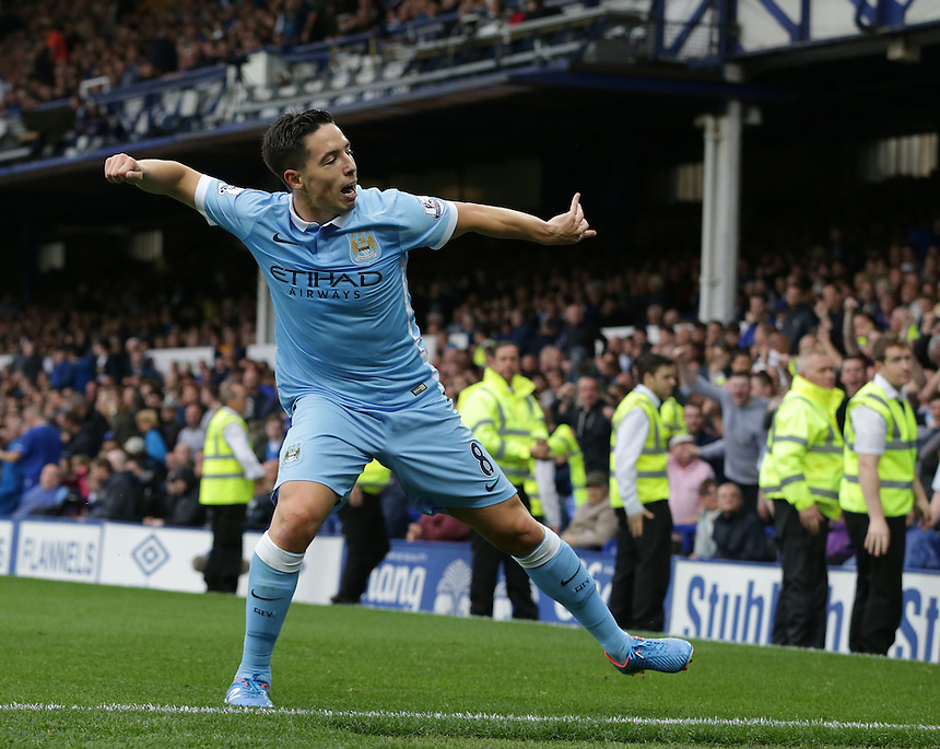 Manchester City's Samir Nasri celebrates scoring his sides second goal <br /> <br /> Photographer Stephen White/CameraSport<br /> <br /> Football - Barclays Premiership - Everton v Manchester City - Sunday 23rd August 2015 - Goodison Park - Liverpool<br /> <br /> &copy; CameraSport - 43 Linden Ave. Countesthorpe. Leicester. England. LE8 5PG - Tel: +44 (0) 116 277 4147 - admin@camerasport.com - www.camerasport.com