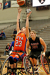 MARSHALL, MN - MARCH 17:  Abigail Dunkin #23 from University of Texas Arlington lays the ball up past  Barbara Gross #23 from Alabama during their championship game at the 2018 National Intercollegiate Wheelchair Basketball Tournament at Southwest Minnesota State University in Marshall, MN. (Photo by Dave Eggen/Inertia)