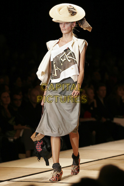 MODEL.Vivienne Westwood ready to wear Spring/Summer Collection 2005, Paris, France, .October 5th 2004..full length fashion show catwalk straw hat grey skirt.Ref: MDS.www.capitalpictures.com.sales@capitalpictures.com.©O.Medias/Capital Pictures .