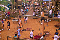 People from a community on the Big Island build a  playground.