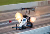 Jun 7, 2019; Topeka, KS, USA; NHRA top fuel driver Austin Prock during qualifying for the Heartland Nationals at Heartland Motorsports Park. Mandatory Credit: Mark J. Rebilas-USA TODAY Sports